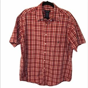 Nautica red blue cream plaid short sleeve XL